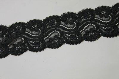 画像2: 5m!!幅6.3cm花柄リバーストレッチレース 黒
