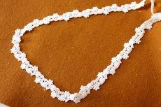 画像4: 6.5m!幅1.4cm可愛いハートと小花柄綿ケミカルレース オフホワイト  (4)