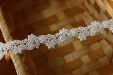 画像1: 6.5m!幅1.4cm可愛いハートと小花柄綿ケミカルレース オフホワイト  (1)