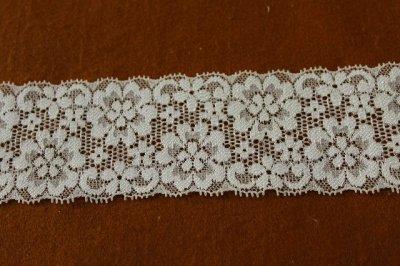 画像1: 150円!2m!幅6.2cm可愛いお花柄ラッセルストレッチレース オフホワイト