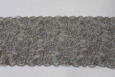 画像2: 5m!幅8.2cm花柄ラッセルストレッチレース グレー (2)