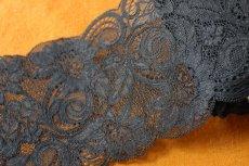 画像4: たっぷり15m!幅11.8cmエレガントなラッセルストレッチレース 黒 (4)