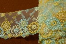 画像2: 3m!幅8.2cm最高級花柄チュールレース 黄色ターコイズ (2)