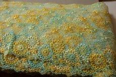 画像5: 3m!幅8.2cm最高級花柄チュールレース 黄色ターコイズ (5)