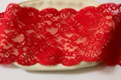 画像1: 3m!幅11.2cm上品な薔薇柄リバーレース 赤