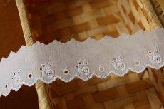 画像3: 幅3..2cm可愛い薔薇柄柄綿レース ホワイト (3)