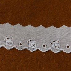 画像2: 幅3..2cm可愛い薔薇柄柄綿レース ホワイト (2)