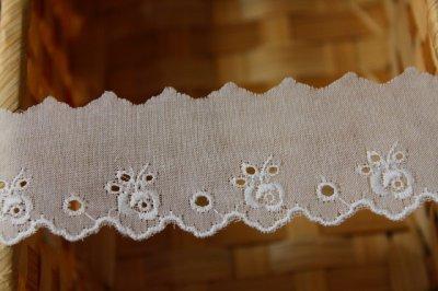 画像3: 幅3..2cm可愛い薔薇柄柄綿レース ホワイト