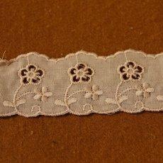 画像2: 6m!幅3.8cmキュートな小花柄綿レース ブラウン (2)