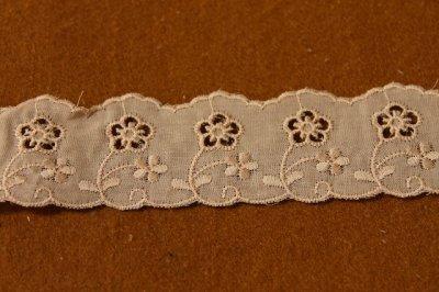 画像1: 6m!幅3.8cmキュートな小花柄綿レース ブラウン