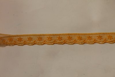 画像1: 5m!幅1.4cm小花柄ラッセルレース オレンジ