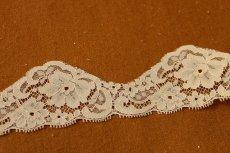 画像2: 3m!幅5.6cm上品な薔薇柄リバーレース ベージュ (2)