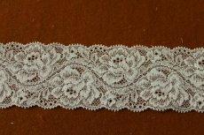 画像1: ラッセルストレッチレース 薄いグリーン 幅5.5cm綺麗な薔薇柄 5m巻 (1)