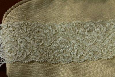 画像1: ラッセルストレッチレース 薄いグリーン 幅5.5cm綺麗な薔薇柄 5m巻