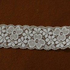 画像2: 10m!幅4cm両山美しい花柄ラッセルストレッチレース オフホワイト (2)