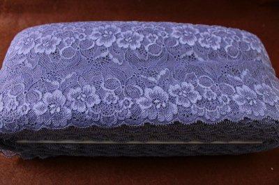 画像3: 送料無料!116m!幅13cmお花とリボン柄ラッセルストレッチレース グレイッシュパープル