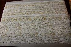 画像5: 5m!4.4cm小花柄ラッセルレース 金ラメ/ホワイト (5)