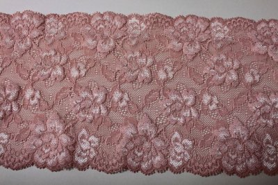 画像2: ラッセルストレッチレース ピンク 幅15.2.cm薔薇がいっぱい 3m巻
