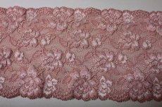 画像3: ラッセルストレッチレース ピンク 幅15.2.cm薔薇がいっぱい 3m巻 (3)