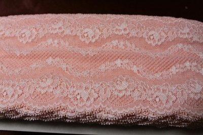 画像3: 5m!幅13.cm美しい薔薇柄ラッセルストレッチレース ピーチ色