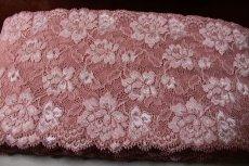 画像4: ラッセルストレッチレース ピンク 幅15.2.cm薔薇がいっぱい 3m巻 (4)