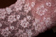 画像2: ラッセルストレッチレース ピンク 幅15.2.cm薔薇がいっぱい 3m巻 (2)