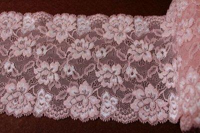 画像1: ラッセルストレッチレース ピンク 幅15.2.cm薔薇がいっぱい 3m巻