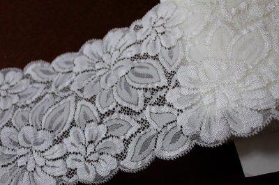 画像3: 5m!幅13.cm光沢のある大きなお花柄ラッセルストレッチレース オフホワイト