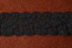 画像4: 5m!幅5.5cm小花柄リバーストレッチレース 黒 (4)