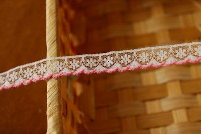 画像1: 5m!幅1.3cm可愛いピンク刺繍のラッセルレース 濃いピンク
