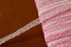 画像1: 5m!幅1.1cm可愛いピンク刺繍のラッセルレース 淡いピンク (1)