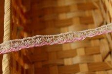 画像2: 5m!幅1.1cm可愛いピンク刺繍のラッセルレース 淡いピンク (2)