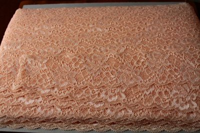 画像3: 150円!3m!幅5.7cm綺麗な薔薇柄ラッセルストレッチレース オレンジ色