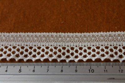 画像1: 5m!幅2.4cm格子柄の綺麗なラッセルストレッチレース オフホワイト