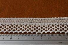 画像3: 5m!幅2.4cm格子柄の綺麗なラッセルストレッチレース オフホワイト (3)
