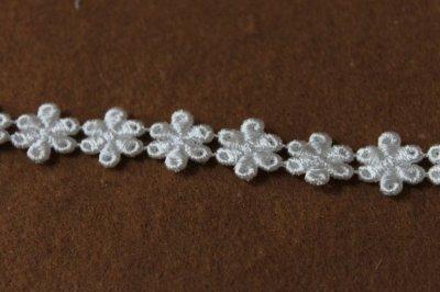 画像1: 計3.4m!幅1.4cm光沢のある小花のケミカルレース オフホワイト