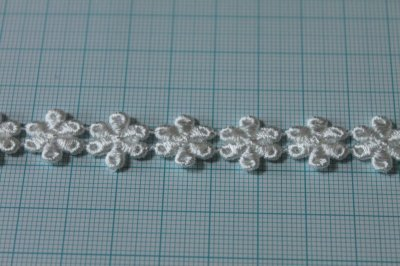 画像2: 計3.4m!幅1.4cm光沢のある小花のケミカルレース オフホワイト