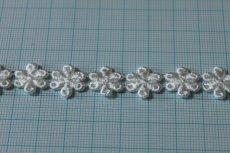 画像3: 計3.4m!幅1.4cm光沢のある小花のケミカルレース オフホワイト (3)