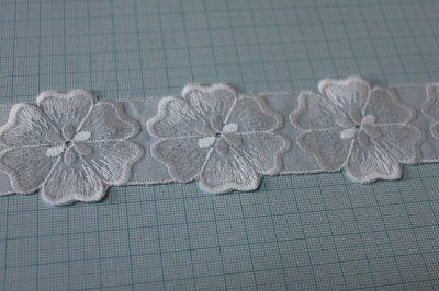 画像2: 15枚!幅4.9cmお花モチーフ綿レース ホワイト