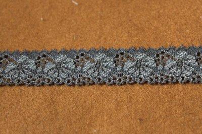 画像1: 10m!幅2.1cm花柄ラッセルストレッチレース チャコールグレー