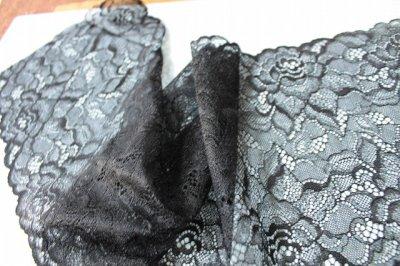 画像3: ラッセルレース 黒 日本製 5m巻!幅16.6cm薔薇柄