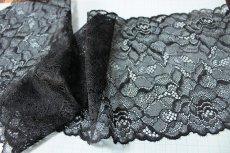 画像2: ラッセルレース 黒 日本製 5m巻!幅16.6cm薔薇柄 (2)