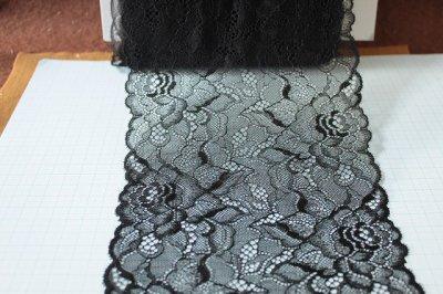 画像2: ラッセルレース 黒 日本製 5m巻!幅16.6cm薔薇柄
