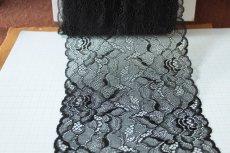 画像3: ラッセルレース 黒 日本製 5m巻!幅16.6cm薔薇柄 (3)