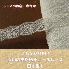 画像1: 3m!幅2.3cm両山の薔薇柄チュールレース オフホワイト (1)
