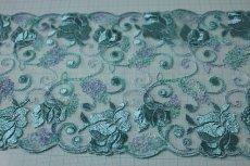 画像3: 1m!幅13.5cm切替の両山の薔薇柄チュールレース ブルー (3)