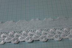 画像3: お買い得108m!幅4.9cmボリュームのある波柄綿レース ホワイト (3)