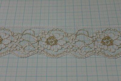 画像1: 5m!4.4cm小花柄ラッセルレース 金ラメ/ホワイト