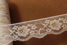 画像2: 5m!4.4cm小花柄ラッセルレース 金ラメ/ホワイト (2)