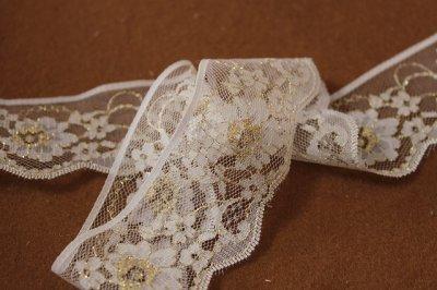 画像3: 5m!4.4cm小花柄ラッセルレース 金ラメ/ホワイト